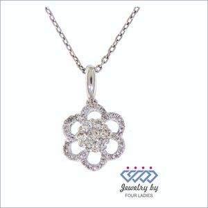 Natural Floral Diamond Pendant Jewelry White Gold